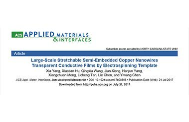 QINGZI NANO's Electrospinning Machine's Application in Nanchang University: Large-Scale Stretchable Semi-Embedded Copper Nanowir